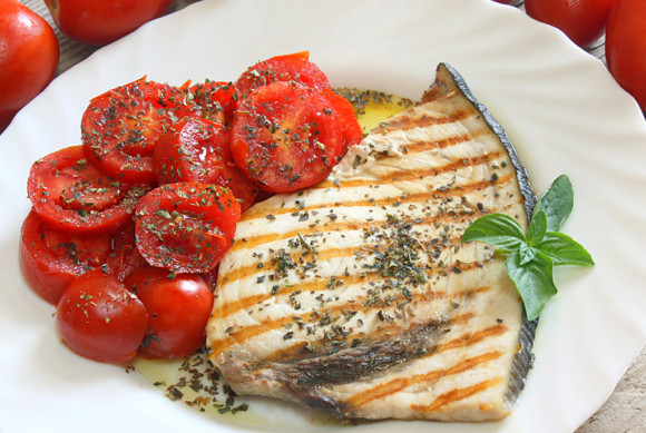 Grilled Swordfish and tomato salad