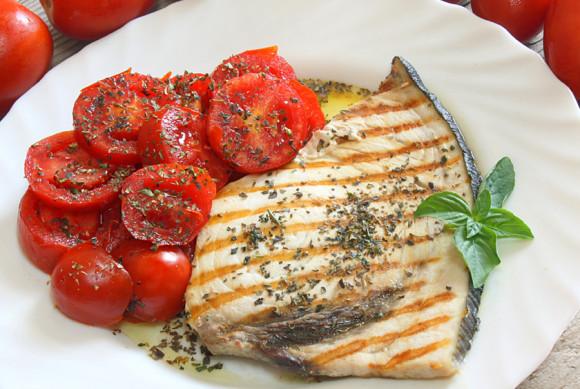 Grilled Swordfish and tomato salad