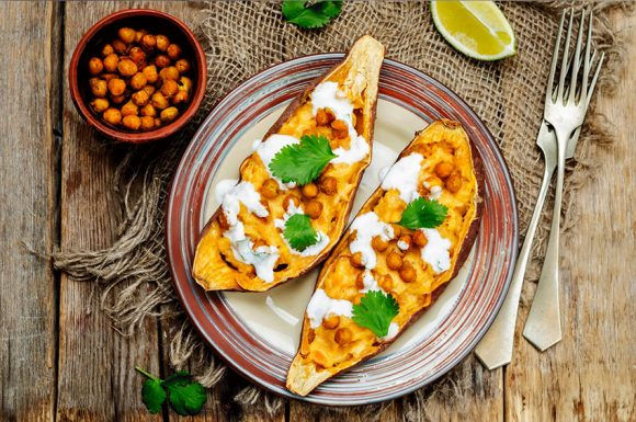 ROASTED CHICKPEA STUFFED SWEET POTATOES