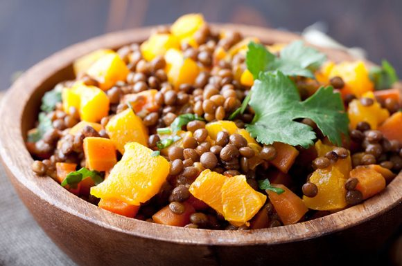 Vegetarian lentil and pumpkin stew