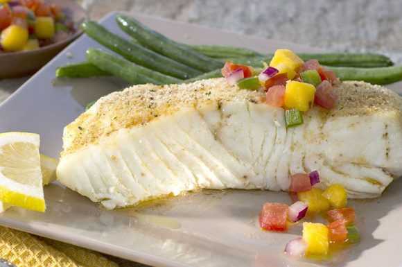 Pan Seared Halibut with Mango Salsa