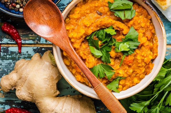 VEGAN SWEET POTATO AND RED LENTIL DAL